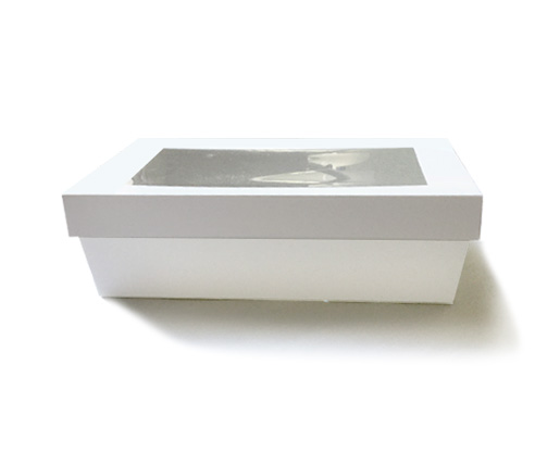 White catering tray with lid